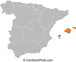 Map of Spain, Balearic Islands highlighted - Political map...