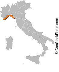 Map of Italy, Liguria highlighted - Political map of Italy...