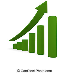 Positive tendency - Green bars with an upswing arrow, 3d...