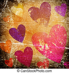 art background with hearts on grunge