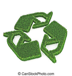 Green Recycle Symbol - A Colourful 3d Rendered Green Recycle...