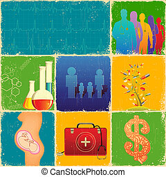 Medical Collage - illustration of collage with different...