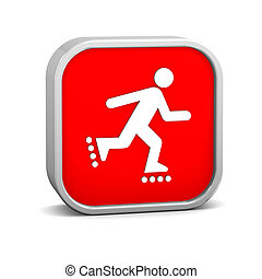Rollerblade sign on a white background. Part of a series.