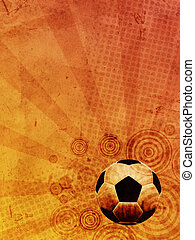 vintage football background with ball over old paper