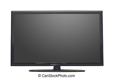 isolated flat screen tv or computer monitor, with 2 clipping...