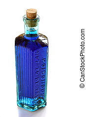 Poisonous potion - Blue potion in a vintage poison bottle On...