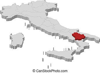Map of Italy, Basilicata highlighted