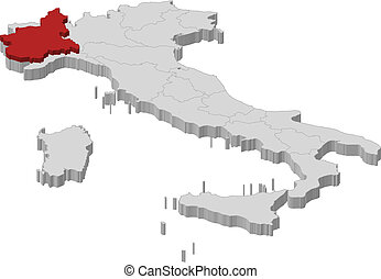 Map of Italy, Piemont highlighted - Political map of Italy...
