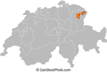 Map of Swizerland, Appenzell Ausserrhoden highlighted -...