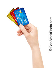 Hand holding pack of credit card isolated - Woman hand...