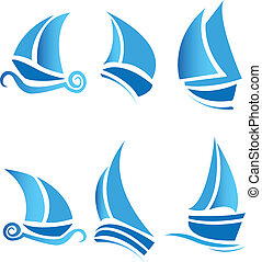 Set of boats ships or cruise with waves vector logo