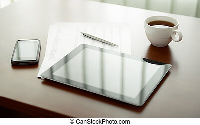 Modern workplace with digital tablet and mobile phone, cup...