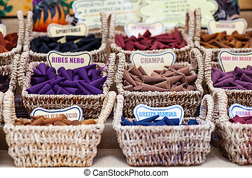 Incense - A lot of various scented Incense inside the wicker...