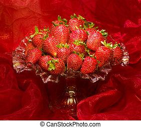 Red fresh strawberry in vase