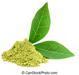 Green powder matcha tea isolated on white