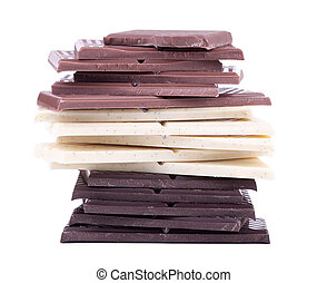 Milk, white and dark chocolate - Stack of dark, white and...