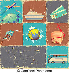 Transportation Collage - illustration of retro collage of...