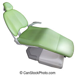 Dentist chair  - Green dentist chair on white background
