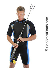 underwater hunter in full equipment. Isolated on a white...