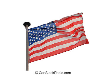 Isolated american flag with clipping path