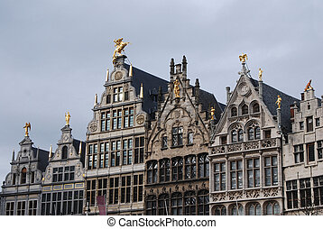 Grand place Antwerp - Historical houses on the grand market...