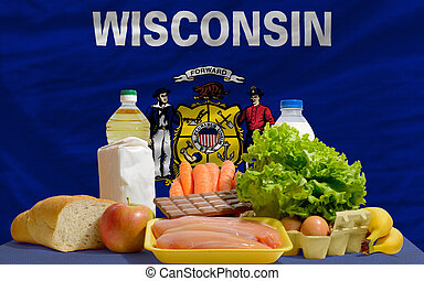 basic food groceries in front of wisconsin us state flag -...