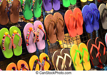 Colorful shoes - Colorful of rubber slippers in the market