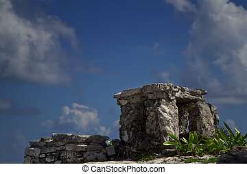 Altar to the sky - Close up view of a mayan altar with blue...