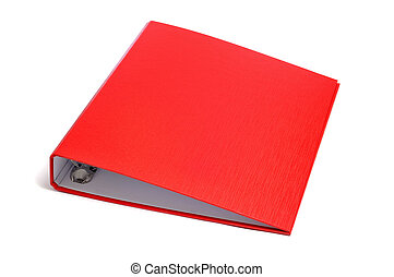 ring binder - a red ring binder on a white background