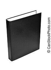 ring binder - a black ring binder on a white background
