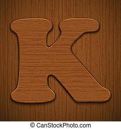 "Letter ""K"". Wooden alphabet. Vector illustration."