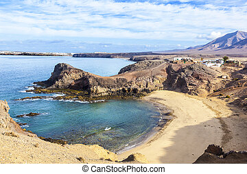 Playa de Papagayo (Parrot's beach) on Lanzarote, Canary...