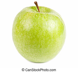 Green Apple - Isolated frontal shot of a fresh green apple...