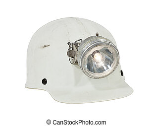 Vintage Mining and Caving Hard Hat Isolated - Vintage caving...