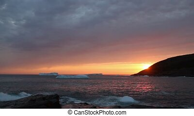Atlantic Canada Icebergs - Icebergs at sunrise.