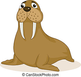 Walrus cartoon - Vector Illustration Of Walrus cartoon