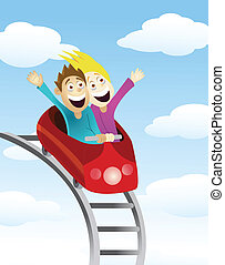Man and women an a roller coaster - Vector Illustration Of...