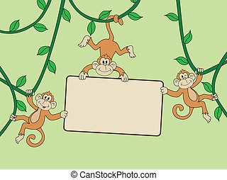 Monkey with blank sign Vector Illustration Of