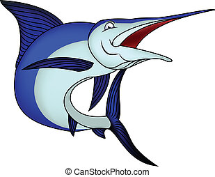 Blue marlin isolated on a white bac - Vector Illustration Of...