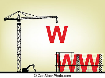 illustration of construction web si - Vector Illustration Of...