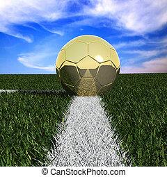 Golden soccer ball in the grass