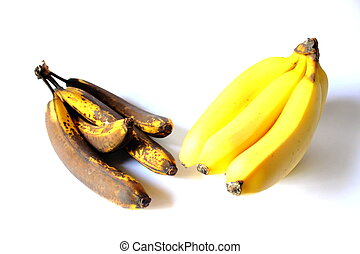 Rotten and Ripe Bananas - Isolated rotten and ripe bananas...