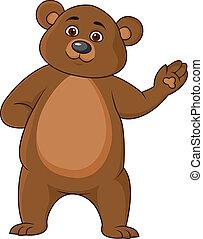 divertido, oso, caricatura, ondulación, mano