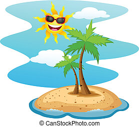 Tropical island with funny sun char - Vector Illustration Of...