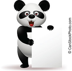 Panda with blank sign - Vector Illustration Of Panda with...
