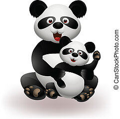 Mother and baby panda - Vector Illustration Of Mother and...