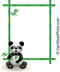 Panda with bamboo tree - Vector Illustration Of Panda with...