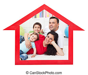 Dream home concept with family inside house contour sign -...