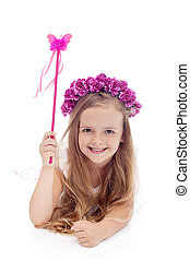 Little fairy with flower wreath and magic wand