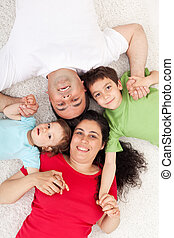 Happy family with two children - Happy family with two kids...